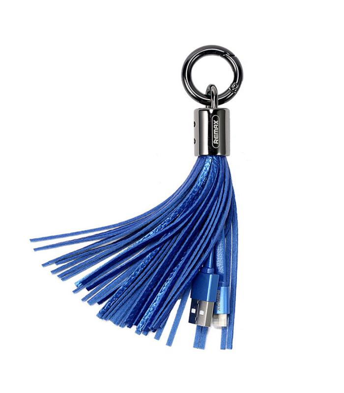 Porte clé chargeur Pompon Bleu USB vers LIGHTNING
