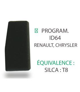 Transpondeur Texas Crypto ID64 Renault, Chrysler (Silca T8)