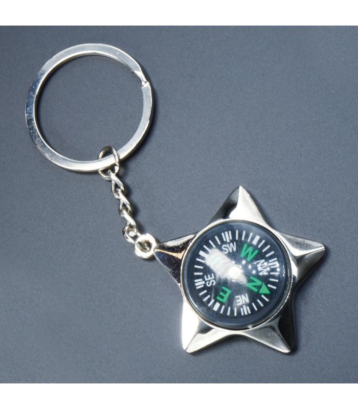 Porte clés Métal Boussole Etoile