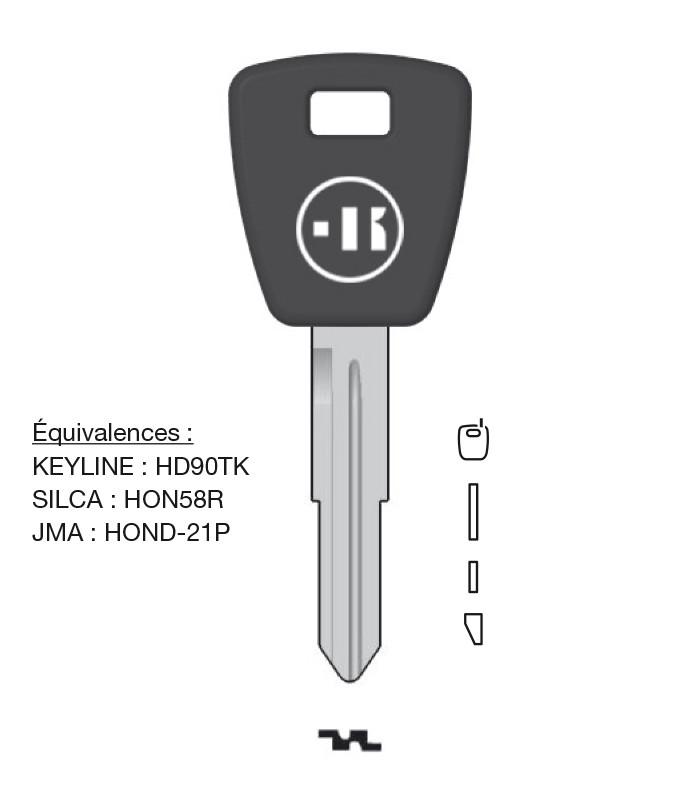 Clé à transpondeur profil type HON58R