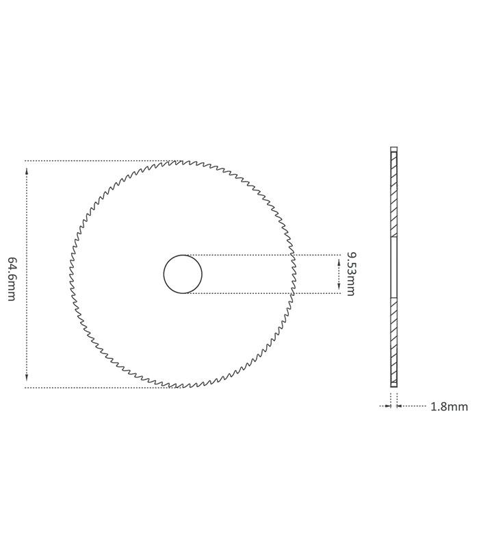 Fraise-scie 1 taille Ø 64,6 x 1,8 x Ø 9,53 en carbure monobloc pour Machines SILCA DELTA