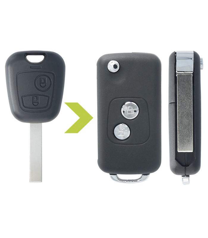 Coque de clé modifié en rétractable pour Peugeot 307, CC et SW