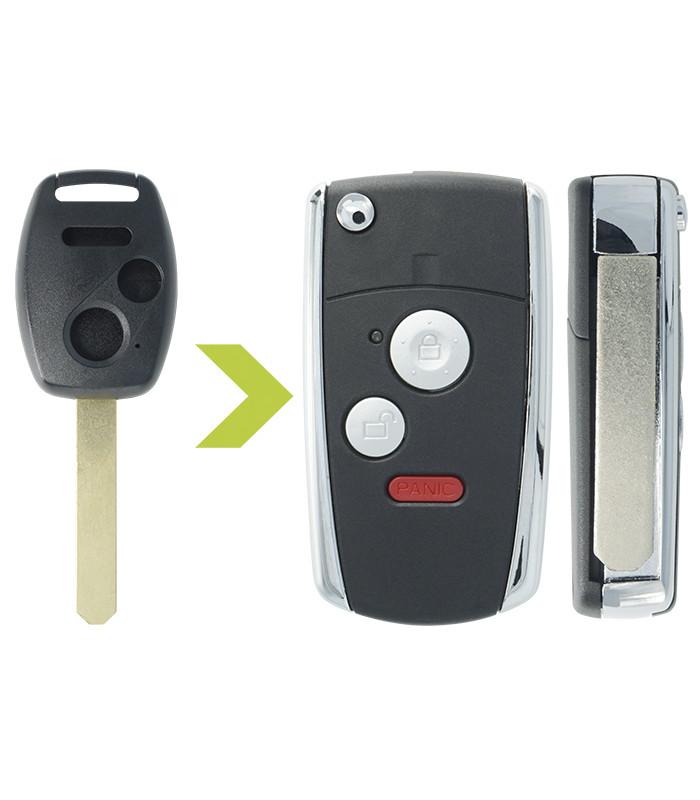 Coque clé modifiée Honda 3 boutons pour Accord, Civic, Coupe, CR-V, FR-V, HR-V, Insight, Jazz, Legend, Odyssey...