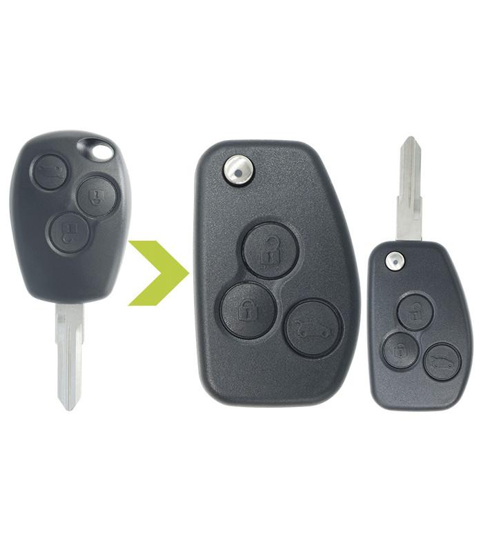 Coque de clé Dacia modifiée 3 boutons Duster (années 2011-2012)