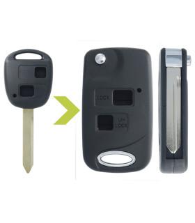 Coque clé modifiée 2 boutons Toyota, Yaris, Verso, Rav4, Land Cruiser, Auris