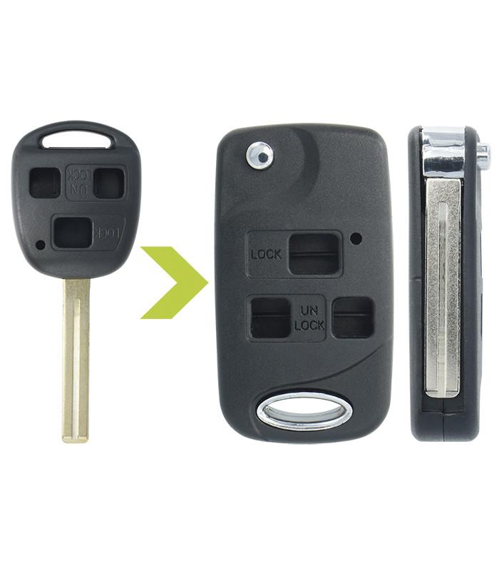 Coque avec lame 3 boutons compatible Toyota Auris, Land Cruiser, Rav4, Verso, Yaris