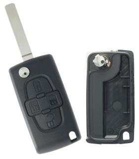 Coque clé Peugeot 4 boutons 1007 (2005-2009)